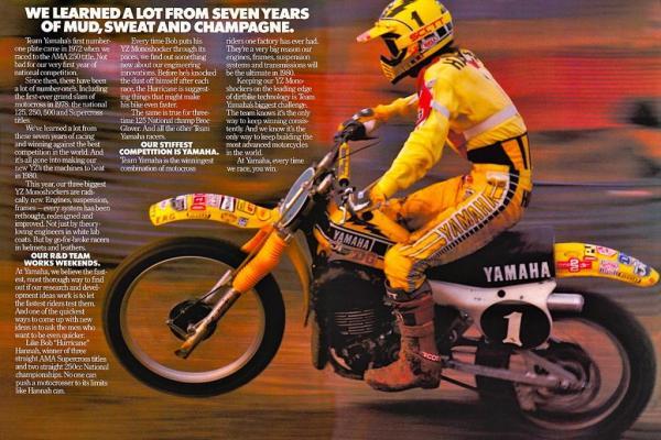 Publicité gamme Yamaha YZ (1980)